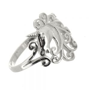 Beautiful Sterling Silver Jewellery: Swirly Unicorn Design Ring (16mm Tall)