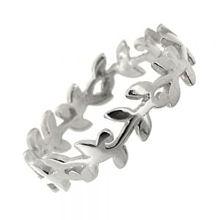 Sterling Silver Jewellery: Wavy Leafy Vine Ring (7mm)