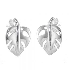 Sterling Silver Jewellery: Curving Chunky Leaf Design Stud Earrings