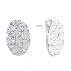 Contemporary Sterling Silver Jewellery: Brushed White Silver Oval Studs with Crumpled Texture