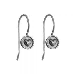 Sterling Silver Jewellery : Two-Tone Silver Heart Drop Earrings with Long Hooked Backs