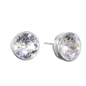 Sterling Silver Jewellery: Clear Swarovski Crystal Round Stud Earrings