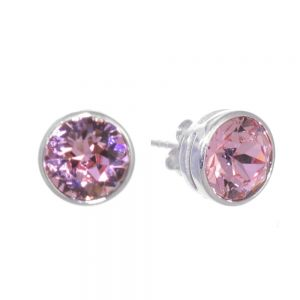 Sterling Silver Jewellery: Swarovski Crystal Round Stud Earrings
