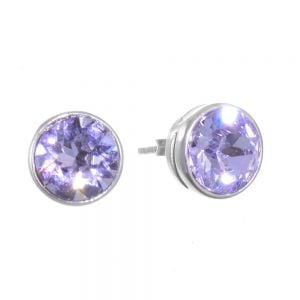 Sterling Silver Jewellery: Lilac Swarovski Crystal Round Stud Earrings