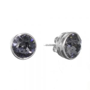 Sterling Silver Jewellery: Grey Swarovski Crystal Round Stud Earrings