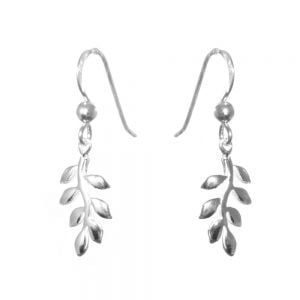Sterling Silver Jewellery: Small Leafy Branch Drop Earrings
