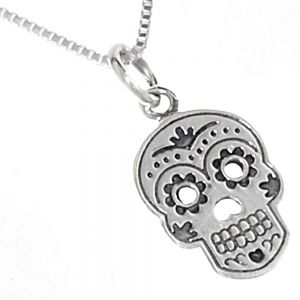 Quirky Sterling Silver Jewellery: 'Day of the Dead' Sugar Skull Pendant