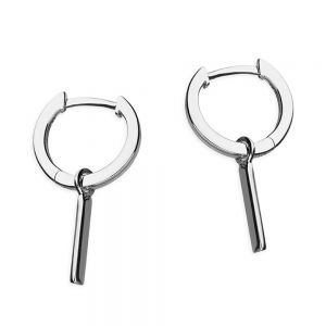 Minimalist Sterling Silver: Tiny Hinged Huggie Hoop Earrings with bar Charms (13mm x 23mm) (E492)S)