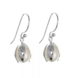 Silver and Pearl Snowdrop Earrings sterling silver 925 jewellers in york