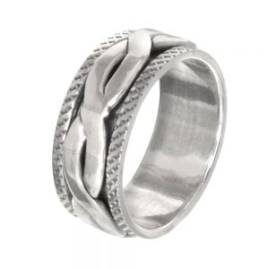 Unisex Sterling Silver Jewellery: Chunky 9mm Oxidised Band with Spinning Weave (SR58)