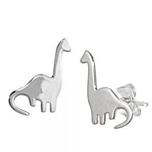 Quirky Sterling Silver Jewellery: Simple Flat Brontosaurus Dinosaur Stud Earrings (8mm x 14mm) (E502)