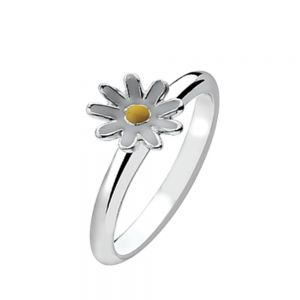 White and Yellow Daisy Sterling Silver Stacking Ring