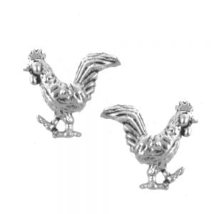 Sterling Silver Jewellery: Tiny Oxidised Rooster Stud Earrings
