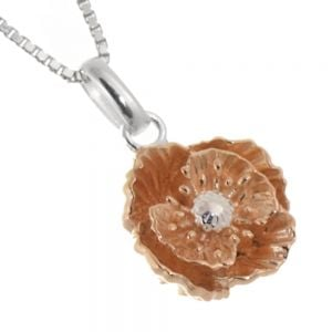 Lovely Sterling Silver Jewellery: Silver and Rose Gold Poppy Pendant (15mm x 11mm x 5mm) (N125)