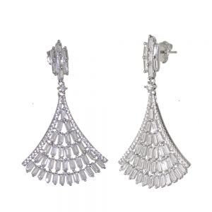 NEW Statement Sterling Silver Jewellery: Glamorous Crystal Art Deco Inspired Earrings