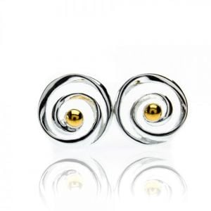 Sterling Silver Jewellery: Dainty Spiral Studs Earrings with Gold Dots