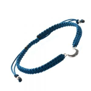 Sterling Silver Jewellery: Silver Crescent Moon and Teal Cord Bracelet (B90t)