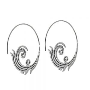Contemporary Sterling Silver Jewellery: Swirl and Dot Design Push-Through Hoop Earrings