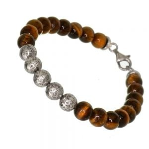 UNISEX Sterling Silver Jewellery: Tigers Eye and Hammered Silver Beaded Bracelet (22cm) (B202)