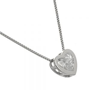 Simple Sterling Silver Jewellery: Delicate Chain Necklace with Tiny Crystal Heart (N134)