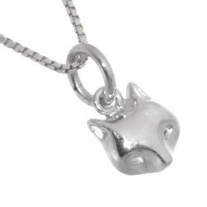 cheap Quirky Sterling Silver Jewellery: Small Fox Face Pendant (7mm x 14mm) (N59)
