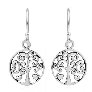 Sterling Silver Tree and Heart Earrings