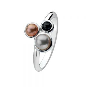 Sterling Silver Triple Pearl Design Stacking Ring