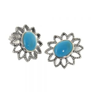 NEW Pretty Sterling Silver Jewellery: 17mm Flower Stud Earrings with Turquoise Centres (E629c)