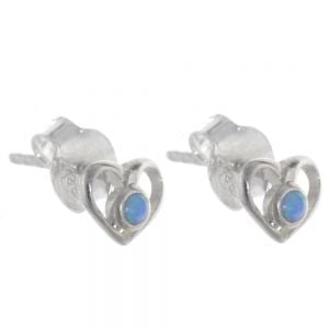 Pretty Sterling Silver Jewellery: Tiny Heart Outline Studs with Blue Opal Dots (E295)