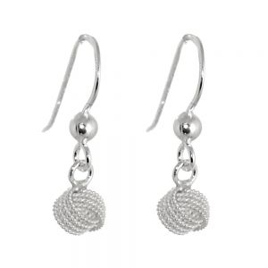 cheap Simple Sterling Silver Jewellery: Small 6mm Knotted Ball Drop Earrings (E343)