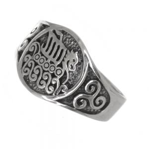 Viking Sterling Silver Jewellery: Chunky Oxidised Ring with Longboat and Triskelion