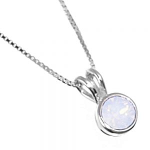 Sterling Silver Jewellery: Tiny Round White Opalescent Swarovski Crystal Pendant  (N386White)