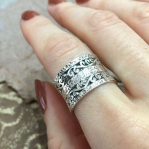 Sterling Silver Jewellery: Chunky Oxidised Hammered Ring with Swirl Pattern