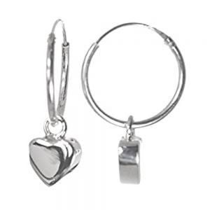 sterling silver heart design hoops