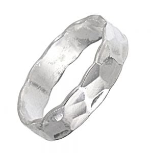Sterling Silver Jewellery: Minimalist Band Ring with Hammered Detail