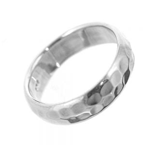 Sterling Silver Jewellery: Palin Silver Band with Hammered Finish ring
