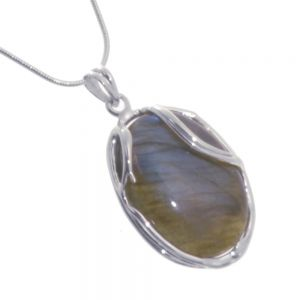 Stunning Sterling Silver Jewellery: Statement Oval Iridescent Labradorite Pendant with Swirling Frame