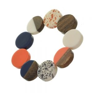 Playful Fashion Jewellery: Stretch Bracelet with Glossy Navy, Orange and Wooden Discs and Speckled Effect Elements (SB22)A)