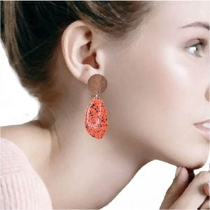 Playful Fashion Jewellery: Wooden Disc and Speckled Orange Pebble Earrings (6cm x 2.4cm)