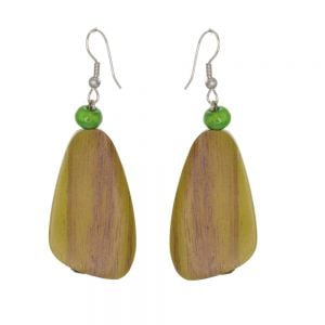 Lovely Fashion Jewellery: Green Wooden Chunky Abstract Earrings (6cm x 2cm) (SB29)A)
