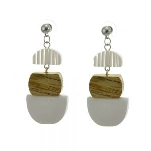 Stunning Fashion Jewellery: Segmented Drop Earrings with Clear Striped Acrylic, Natural Tone Wood, and Solid White Semi-Circle (6cm x 2.5cm) (SB11)