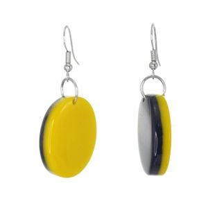 Stunning Fashion Jewellery: Double-Sided Acrylic Oval Drop Earrings in Glossy Yellow and Navy (4.8cm) (SB24)