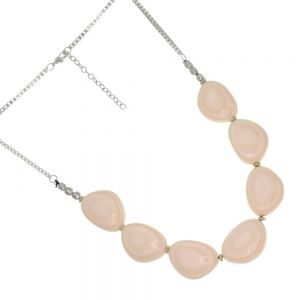Stunning  Necklace with Chunky Off-white striped shell like resin beads (SB10) suzie blue