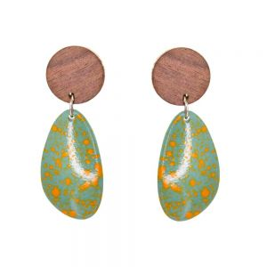 Playful Fashion Jewellery: Wooden Disc and Yellow-Speckled Cyan Blue Pebble Earrings (6cm x 2.4cm) (SB20)B)