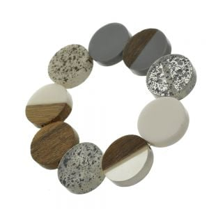 Playful Fashion Jewellery: Stretch Bracelet with Glossy Grey, White and Clear Coins, Wooden Discs and Speckled Effect Elements (SB22)C)