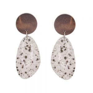Playful Fashion Jewellery: Natural Tone Wooden Disc and Speckled White Pebble Earrings (6cm x 2.4cm) (SB20)C)