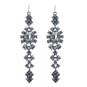 Silver Earrings with Crystal Detail