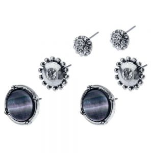 Set of Three Grey and Crystal Earrings