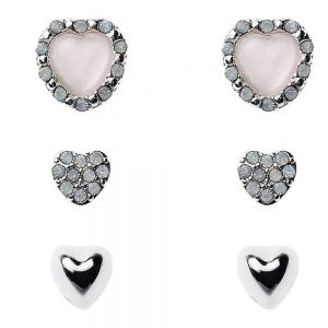 Triple Heart Earring Set with Crystal Embellishment