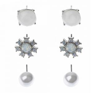 te1511a Silver Flower Drops with Pearl and Crystal Embellishment